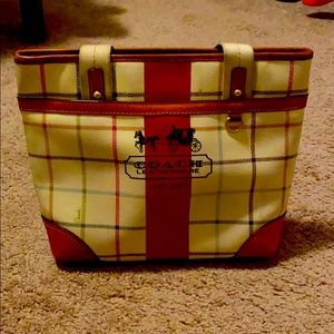 Heritage Stripe Tattersall Leather Tote